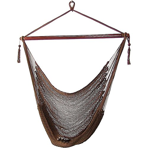 Sunnydaze Hanging Rope Hammock Chair Swing - Caribbean Style Extra Large Hanging Chair for Backyard & Patio - Mocha