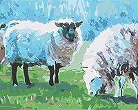 DIY数字油絵 塗り絵キット パズル油絵 動物の羊 デジタル油絵 手塗り 数字キットによる絵画 絵かき インテリア 壁飾り ホームデコレーション 40x50cm(額縁なし)