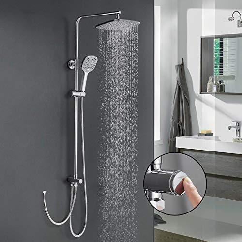 Duschsystem mit 3 Funktionen Handbrause Duschset ohne Armatur, WOOHSE Duschsäule Regendusche mit Überkopfdusche und verstellbare Duschstange Duscharmatur mit Umstellung für Bad Dusche