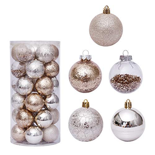 WT-DDJJK Decorazione Natalizia, 30 Pezzi 6 cm Decorazione Palline di Natale Oro Trasparente Ornamento per Albero di Natale da Appendere, Saldi del Black Friday 2020