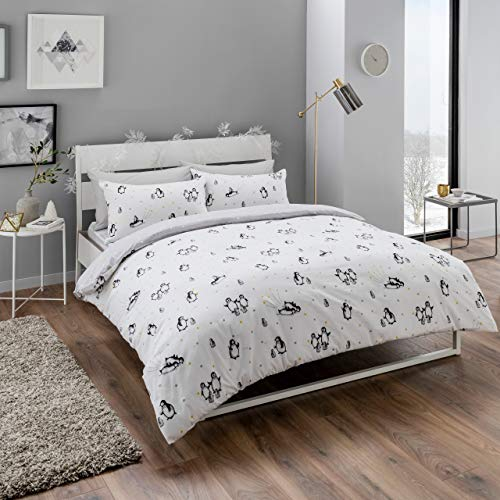 Sleepdown Cute Penguins White Stars Reversible Soft Duvet Cover Quilt Bedding Set With Pillowcase - Single (135cm x 200cm)