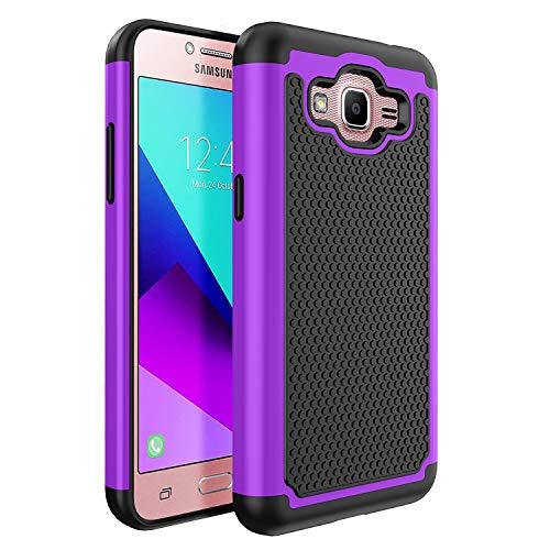 Samsung Galaxy J2 Prime/J2 Prime G532M/Galaxy Grand Prime Plus G530/J2 Prime 2016 Unlocked SM-G532M Duos 4G LTE US Case, OEAGO [Shockproof] Hybrid Dual Layer Defender Protective Case-Purple