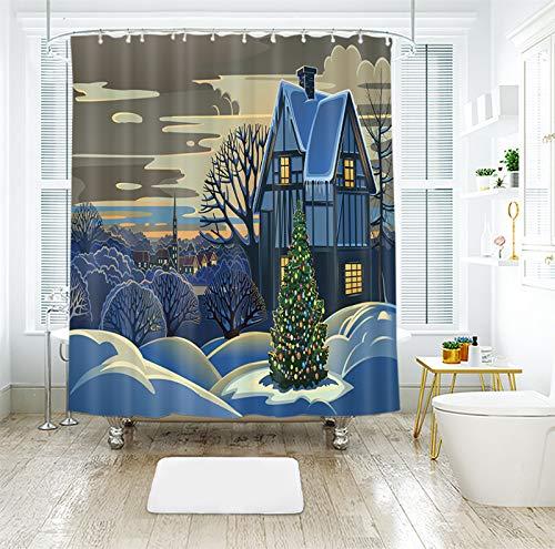 AJ WALLPAPER 3D Navidad Navidad pintura casa 036 cortina de ducha impermeable fibra baño ventanas inodoro Reino Unido Zoe (tamaño personalizado (mensaje eBay nos))