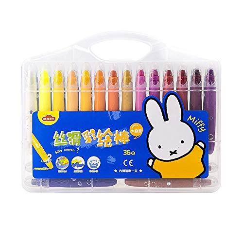 Yjdr Briefpapier-Feder Silky Wasserlösliche Painted Sticks große Kapazitäts Waschbar Kinder Crayons Öl-Pastelle Schüler Art rotierende Bürste 36 Farben