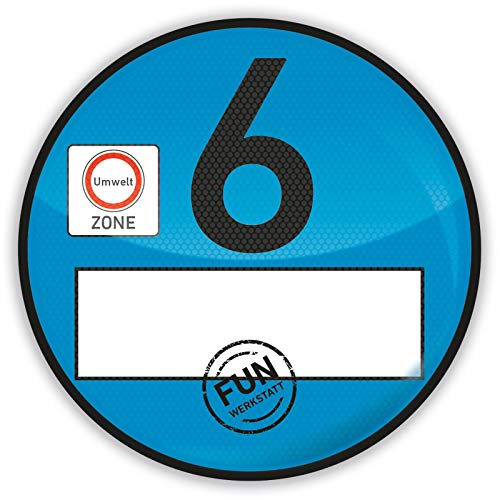 Treuekarten Haftfolie Euro 6 Plakette blau Umweltplakette Feinstaubplakette Spassplakette