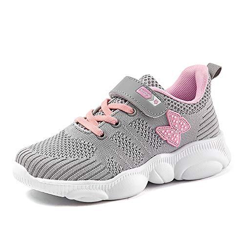 Ork Tree Kinder Sneaker Schuhe Turnschuhe Mädchen Hallenschuhe Jungen Sportschuhe Klettverschluss Kinderschuhe Laufschuhe,Grau B,29 EU