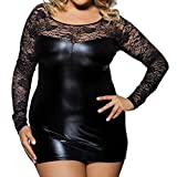 HebeTop Nightdress for Womens Plus Size, Ladies Teddy Babydoll Sexy Stretch Lace Leather Splice Lingerie Sex Sleepwear Black