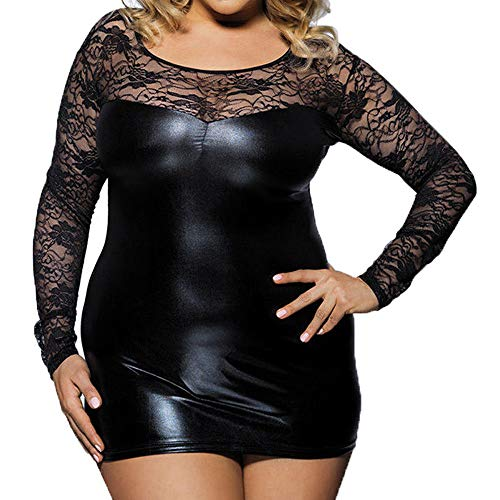 Amazing Deal HebeTop Nightdress for Womens Plus Size, Ladies Teddy Babydoll Sexy Stretch Lace Leathe...