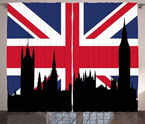 ABAKUHAUS Union Jack Rustikaler Vorhang, Historisches städtisches Großbritannien, Wohnzimmer Universalband...