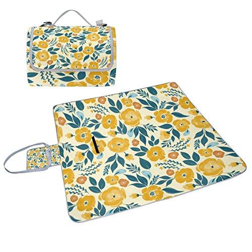 COOSUN gelb floral Picknick Decke Tote Handlich Matte Mehltau resistent und wasserfest Camping Matte für Picknicks, Strände, Wandern, Reisen, Rving und Ausflüge