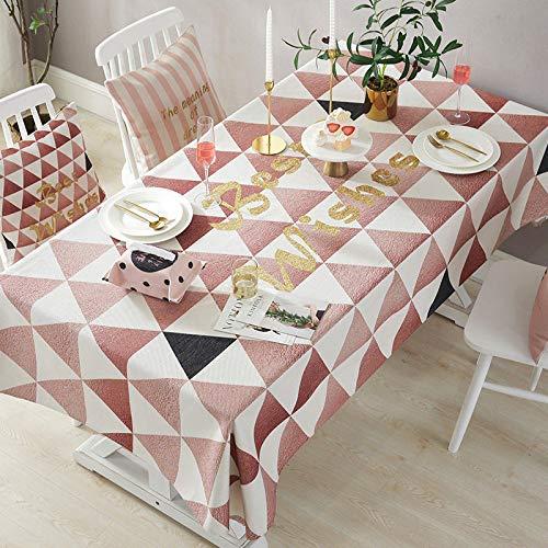 Mantel, mantel nórdico rosa de la serie love home, mantel grueso de mezcla de algodón y lino, toalla rectangular de cubierta impermeable para mesa de café 85*85cm Triángulo de oro rosa Manteles