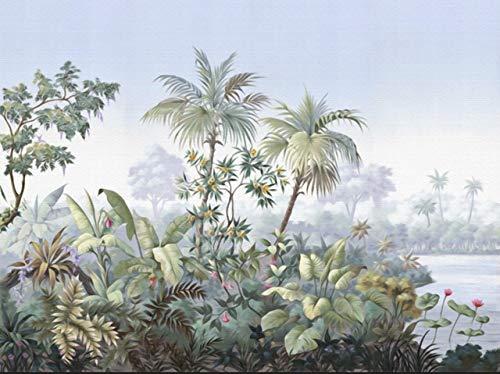 Jidan Tapete Europäische Retro-Hand gezeichnet Garten Bäume Regenwald Bananen-Kokosnuss-Baum-Wand-Papier-TV Hintergrund der Tapeten-3D (Color : 3)