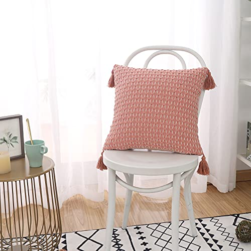 Funda de cojín decorativa de punto, diseño geométrico bohemio, funda de almohada de algodón con borla para sofá cama, sofá sala de estar (goma rosa, 45 x 45 cm)