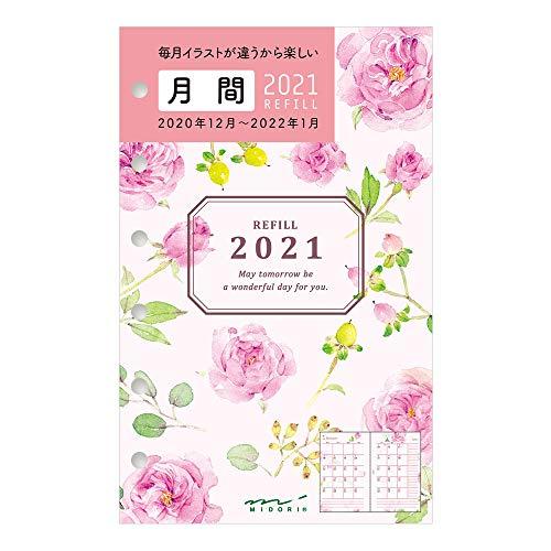 デザインフィル ミドリ 手帳 リフィル 2021年 B7 マンスリー ミニ6 カントリータイム 花柄 32266006 (2020年 12月始まり)