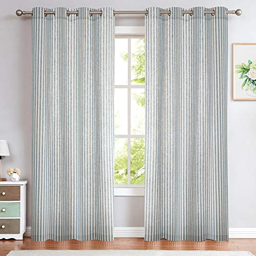 Linen Textured Curtains for Living Room Stripe Pattern Drapes Grommet Top Light Reducing Window Treatment Set for Bedroom 2 Panels 95 inch Long Blue