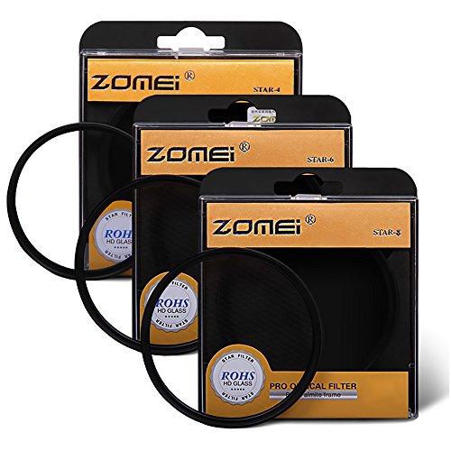 Zomei 82MM 3 Stuks +4 +6 +8 Punten Star Filter Lens Filters Kit voor Nikon D3300 D3200 D3100 D3000 D5300 D5200 D5100 D5000 D7000 D7100 DSLR Camera, Gemaakt van HD Glas en Aluminium Frame Materiaal