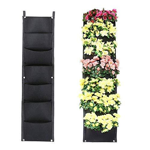 Sac de plantation mural, sacs de plantation suspendus verticaux avec 7 poches, dont 2 crochets, fleurs d'herbes, sacs de culture pour balcon jardin cour bureau décoration de la maison (noir)