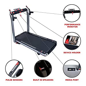 Sunny Health & Fitness ASUNA SpaceFlex Electric Running Treadmill with Auto Incline, LCD and Pulse Monitor, Speakers, Device Holder, 220 LB Max Weight, Folding and Transportation Wheels - 7750