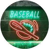 Baseball Sport Bar Dual Color LED看板 ネオンプレート サイン 標識 緑色 + 赤色 400 x 300mm st6s43-i3387-gr