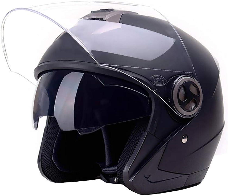 Motorcycle Helmet Motorcycle Helmet, Men and Women Winter Locomotive Safety Helmet, Double Lens Electric Vehicle Half Helmet, Four Seasons, one Size, Pink with AntiFog Lens Road Helmet