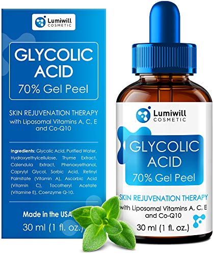 Glycolic Acid Peel 70% - Made in USA - Natural Glycolic Acid for Effective AHA Chemical Peel, Skin Lightening, Acne Scars, Blackheads Removal - Glycolic Serum + Liposomal Vitamins A, C, E & CoQ10