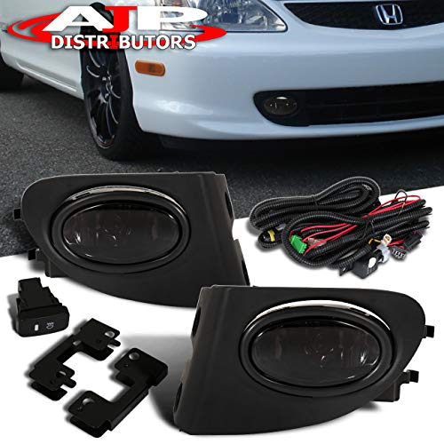 AJP Distributors For 2002 2003 2004 2005 02 03 04 05 Civic Si Hatchback EP3 Fog Lights Lamps Assembly Front Driving Bumper Replacement Upgrade Set (Smoke)