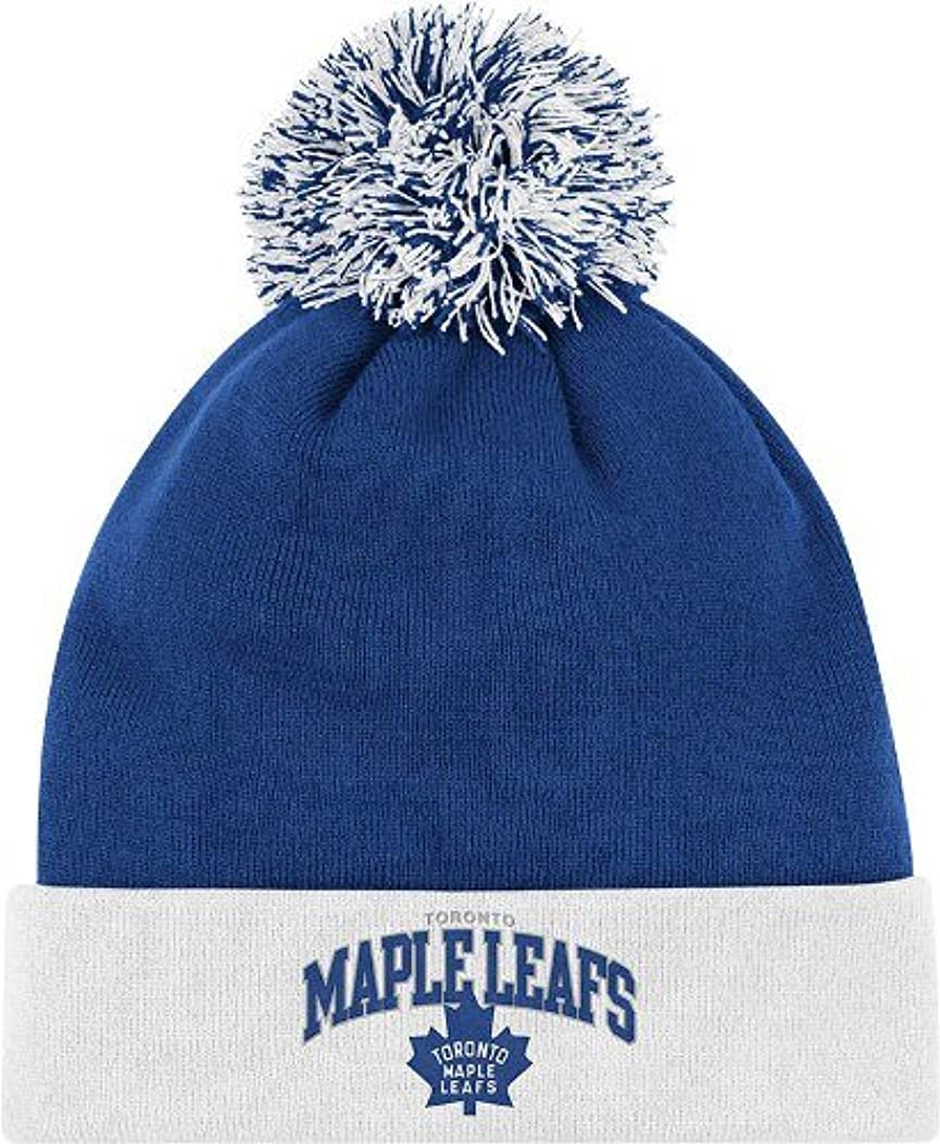 NHL Mitchell & Ness Toronto Maple Leafs Throwback Arch and Logo Cuffed Knit Hat - Navy Blue/White