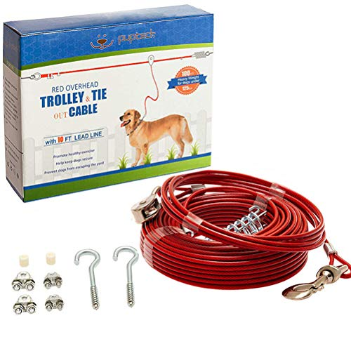 PUPTECK Dog Run Cable, 100 ft Heavy Weight Tie Out Cable with 10 Feet Runner for Dog up to 125lbs,...