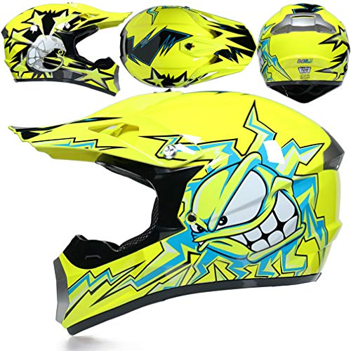 Enduro MX Motocross Helm Monster Kinder Gelb, Fullface Helm MTB mit Brille Handschuhe Maske, Kinderquad Helme mit Visier, Motorrad Crosshelm für Mountainbike ATV BMX Downhill Offroad,S