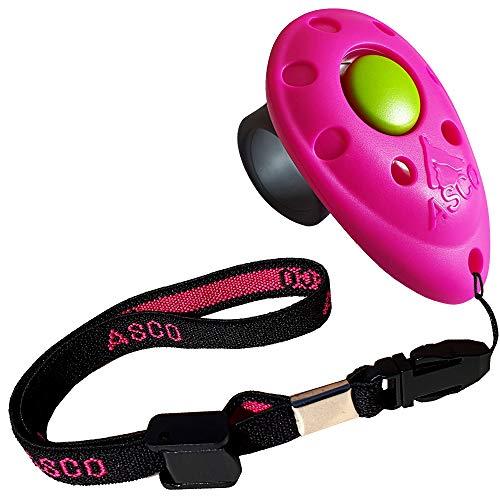 ASCO Premium Finger Clicker mit elastischer Handschlaufe für Clickertraining, Hunde Katzen Pferde Profi-Clicker, Hundetraining Klicker pink AC08FA