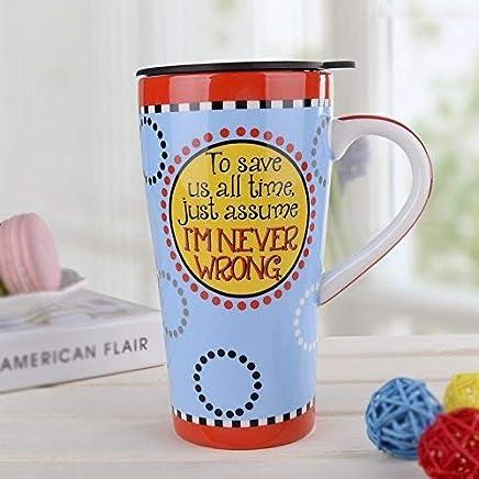 MOCER Europäische und amerikanische Keramik Auto Tasse kreative Persönlichkeit Paar Tasse Latte große Kapazität Kaffee Tasse mit Deckel, Kreis EIN Wenig B0785X3WLL | Starke Hitze- und Abnutzungsbeständigkeit