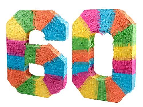 Alsino Pinata Geburtstag Schlagpinata Event Zahlen Hochzeit Jubiläum Partydeko Dekoration Geburtstagsdeko, Zahl wählen:60