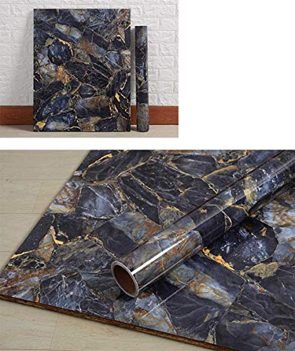 PoetryHome Removable Vinyl Blue Marble Wall Paper for Countertop Table Backsplash Self Adhesive Waterproof Marble Wallpaper Roll 15.7x117 Inches
