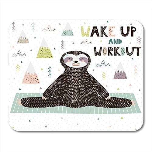 AOHOT Mauspads Active Wake Up and Workout Motivational Funny Sloth Doing Yoga Animal Athletic Mouse pad 9.5