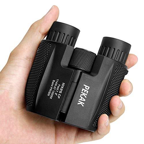 PEKAK 10x25 Small Compact Mini Binoculars for Adults,Portable Pocket Banockulers Waterproof Vinoculares for Hunting Bird Watching Traveling Sports