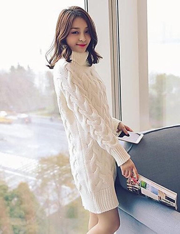BaiChunYunYi Damen Lang Pullover-Lässig Alltäglich Solide Rollkragen Langarm Polyester Frühling Mittel Dehnbar B074XC4R69  Hochwertig