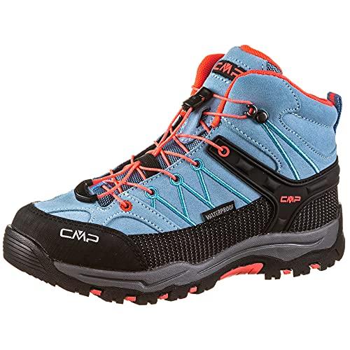CMP - Rigel Mid - Chaussures de Randonnée - Mixte Enfant - Turquoise (Clorophilla-red Fluo) - 30