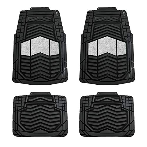August Auto All Weather Two Tone Set of 4pcs Universal Fit Car Floor Mats, Fit for Cars, Sedans, SUVs, Trucks and Vans