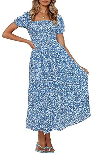 ZESICA Women's Summer Boho Floral Print Square Neck Ruffle Swing Beach...