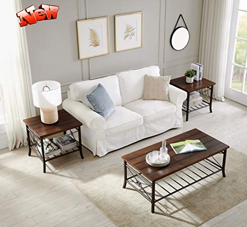 DANGRUUT Best Rustic Coffee Table Set of 3pk for Living Room, Brown Cocktail Table Set 3-Piece with Storage Shelf, Occasional Table Set 1 Cocktail and 2 End Table, Stronger Wood Tabletop, Metal Leg