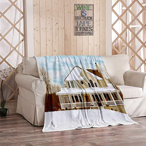 Tridietty Winter Farmhouse Throw Blanket Charming Two Story Farmhouse in The Country Sherpa Fleece Sofa Blanket Flannel Microfiber Warm Bedding Bedspread Couch Bed 50' x 60'