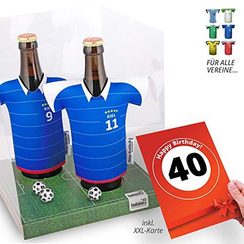 40. Geburtstag | Der Trikotkühler | Das Männergeschenk für Holstein Kiel-Fans | Langlebige Geschenkidee Ehe-Mann Freund Vater Geburtstag | Bier-Flaschenkühler by Ligakakao
