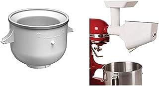 Kitchenaid 5KICAOWH Bol Sorbetière 1.9 L + 5KSMFVSP Pièces Standard Accessoire pour Fruits et Legumés, Blanc