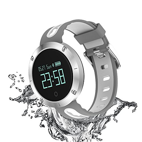 ElementDigital SmartWatch Sports Fitness Tracker Bluetooth Waterproof Wrist Band IP68 Heart-Rate Blood Pressure Monitor Smart Long-time Sitting Reminder Activity Tracker (White)