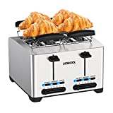 4 Slice Toaster, Acekool Compact Extra Wide Slot Stainless Steel Toasters, 7 Browning Setting with Defrost/Reheat/Cancel Function, Removal Crumb Tray, High-Lift, Auto-Shutoff and Cancel Button 1500W