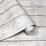 壁紙シール YYT リメイクシート 木目 リメイクシール 木目 木目シール 木目シート 木目調シール 模様替え 多用途 はがせる おしゃれ 45cm×10M 一巻 防水 防汚 防カビ 耐熱 のり付き アンティーホワイト