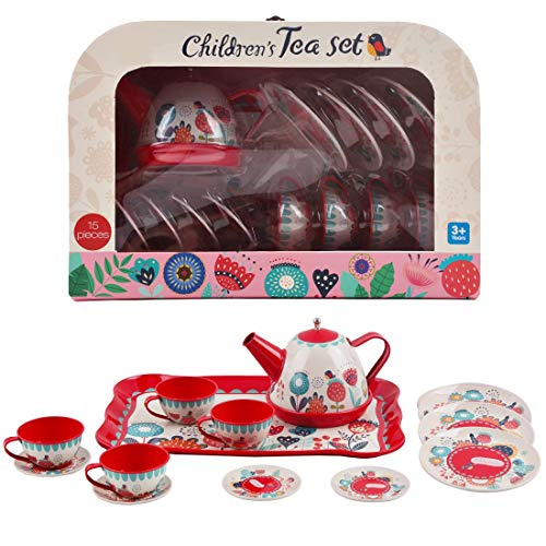 Great Alternative to Traditional Wooden Tea Set Clas Ohlson /® Toy Tin Tea set for Children 9 piece Modern Style Scandi Childs Tea Set Designed in Sweden Great Tin Tea Set for Boys and Girls