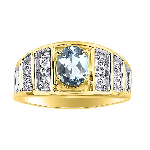 Juego de anillos de diamante y aguamarina en oro amarillo de 14 quilates – piedra de color anillo de nacimiento