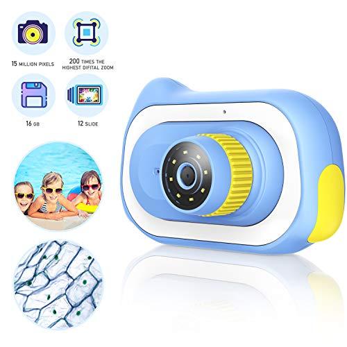 Kinder Mikroskop Kamera für Anfänger Kinder Student, 0 ~ 200X Early Educational Science Teaching Biological Magnification Kamera Spielzeug, 12er Pack Dia Collection, Blau