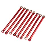 Dilwe RC Car Chassis Link Rod, 8 Pcs Aluminum Alloy Chassis Link Rod for SCX10 1/10 Scale 313mm Wheelbase RC Crawler Car(Red)